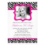 5x7 Hot Pink Zebra PHOTO Sweet 16 Birthday Invite