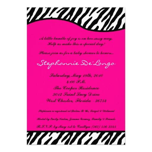 zebra print baby shower invitation 5 x 7 invitation card za