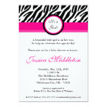 5x7 Hot Pink Zebra Print Baby Shower Invitation