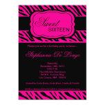 5x7 Hot Pink Zebra Print Birthday Party Invitation
