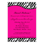 5x7 Hot Pink Zebra Sweet16 Birthday Party Invite Custom Invitations