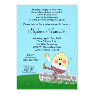 "5x7 Humpty Dumpty Nursery Baby Shower Invitation 5"" X 7"" Invitation Card"