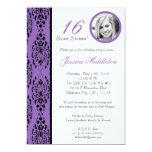 5x7 invitación púrpura de la fiesta de cumpleaños invitación 12,7 x 17,8 cm