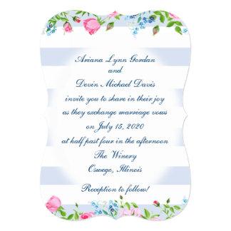 5x7 Invitation Stripes & Flowers