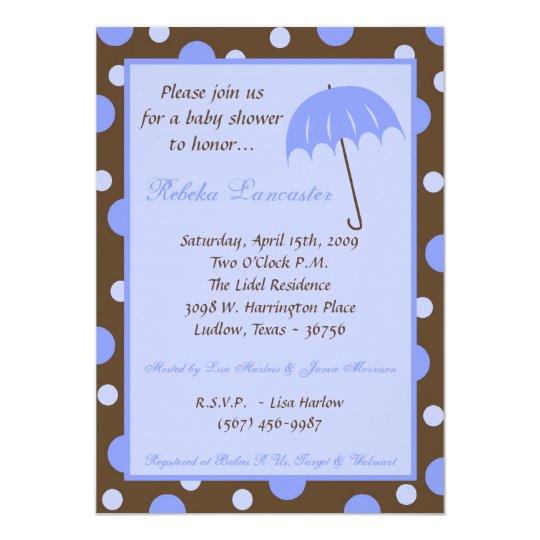 5x7 Invite - Blue Umbrella Baby Shower Invitation