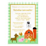 5x7 Invite - Farm Animals Baby Shower Invitation