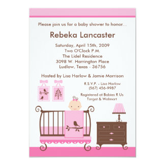 "5x7 Invite - Girl Nursey Baby Shower Invitation 5"" X 7"" Invitation Card"