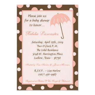 """5x7 Invite - Pink Umbrella Baby Shower Invitation 5"""" X 7"""" Invitation Card"""