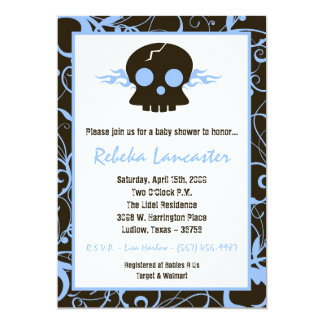 5x7 Invite - Punk Skull Roc Baby Shower Invitation