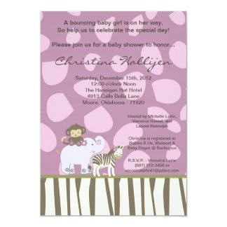 5x7 Jacana Girly Jungle Zoo Baby Shower Invitation
