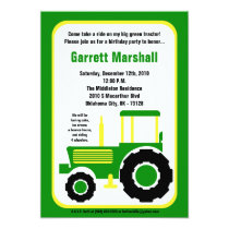 5x7 John Green Farm Tractor Birthday Invitation