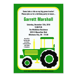 "5x7 John Green Farm Tractor Birthday Invitation 5"" X 7"" Invitation Card"