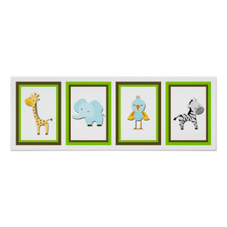 5X7 Jungle Animal Wall Art Collection