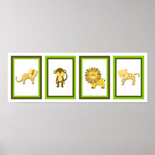 5X7 Jungle Animal Wall Art Collection