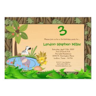 5x7 JungleSafari Animals Birthday Party Invitation