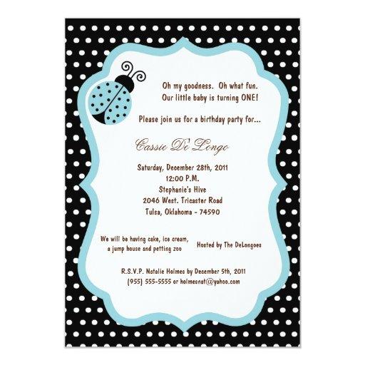 """5x7 la fiesta de cumpleaños negra de la señora Bug Invitación 5"""" X 7"""""""