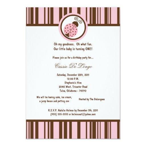 5x7 la fiesta de cumpleaños rosa clara de la invitación personalizada