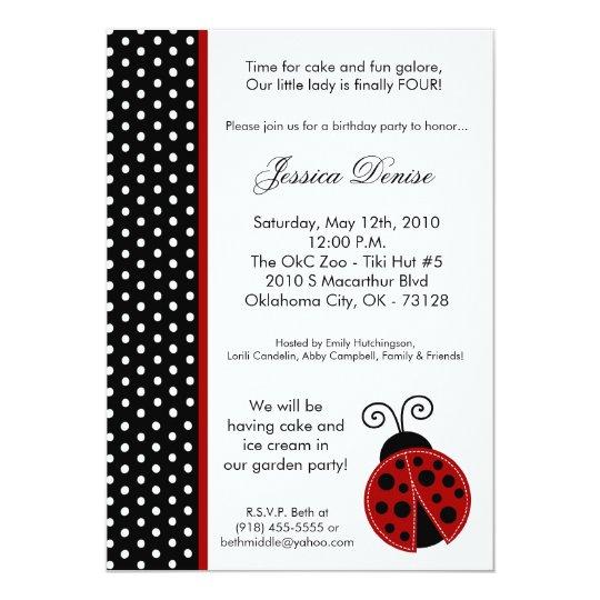 5x7 Lady Bug Black Polka Birthday Party Invitation