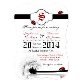 5x7 Lady Bug Dandilion Flower Wedding Invitation