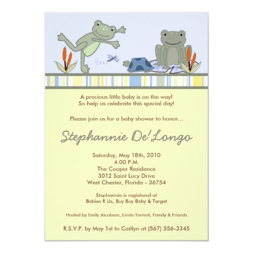 5x7 Leap Frog Turtle Bee Baby Shower Invitation