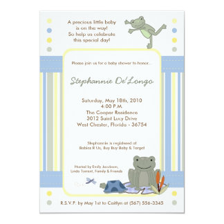 5x7 Leap Frog Turtle Bee Baby Shower Invitation Cards
