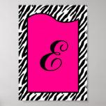 5x7 Letter Wall Art Hot Pink Zebra Animal Print