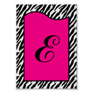 5x7 Letter Wall Art Hot Pink Zebra Animal Print