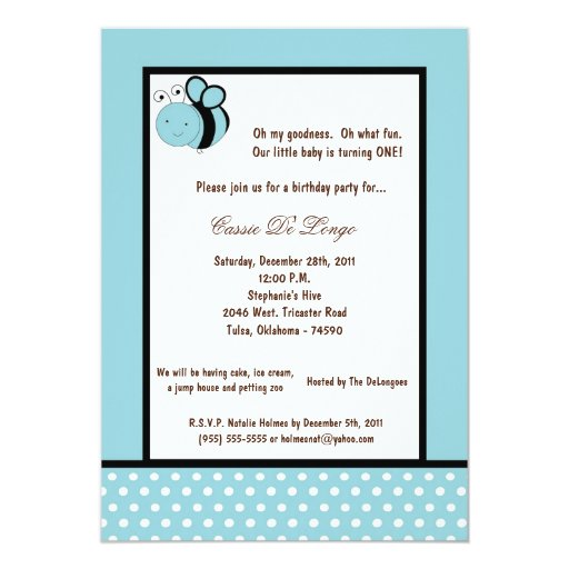 5x7 Light Blue Bumble Bee Birthday Party Invite