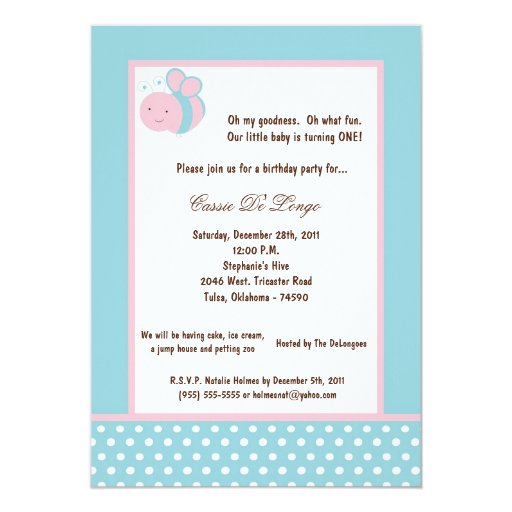 "5x7 Light Blue Bumble Bee Birthday Party Invite 5"" X 7"" Invitation Card"