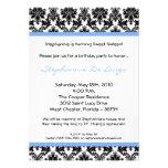 5x7 Light Blue Damask Birthday Party Invitation