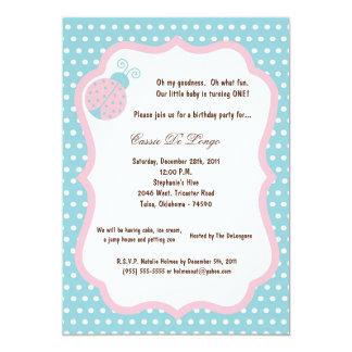 5x7 Light Blue Lady Bug Birthday Party Invite