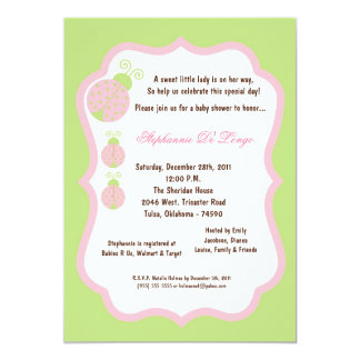 5x7 Light Green Lady Bug Baby Shower Card