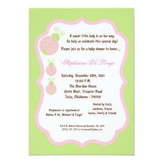 5x7 Light Green Lady Bug Baby Shower 5x7 Paper Invitation Card