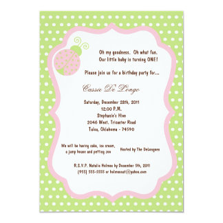 5x7 Light Green Lady Bug Birthday Party Invite