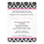 5x7 Light Pink Black Damask Baby Shower Invitation Personalized Invitations