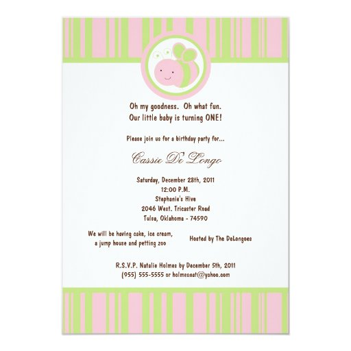5x7 Light Pink Bumble Bee Birthday Party Invite