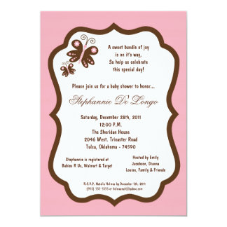 5x7 Light Pink Butterfly Baby Shower Card