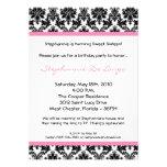 5x7 Light Pink Damask Birthday Party Invitation