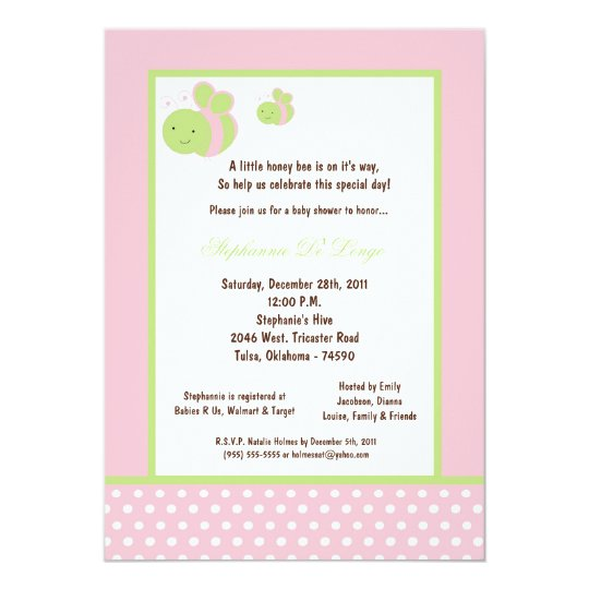 5x7 Light Pink Honey Bee Baby Shower Card