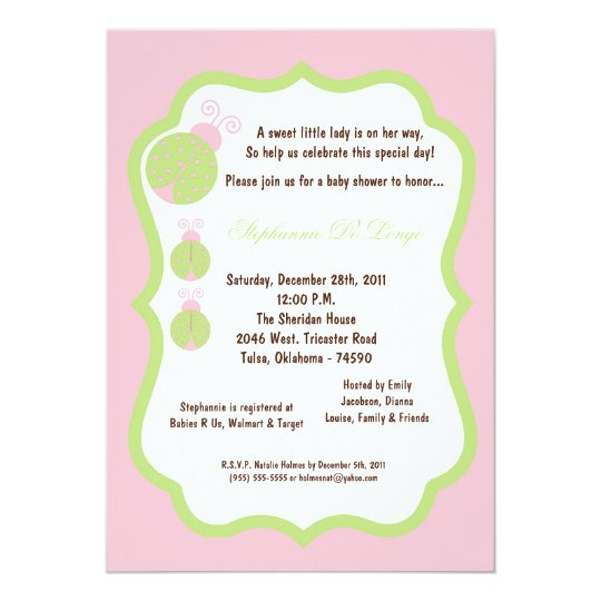 5x7 Light Pink Lady Bug Baby Shower Card