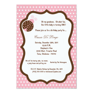 5x7 Light Pink Lady Bug Birthday Party Invite