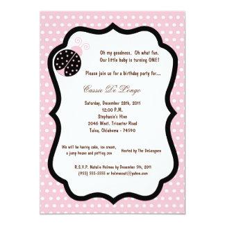 5x7 Light Pink Lady Bug Birthday Party Invite