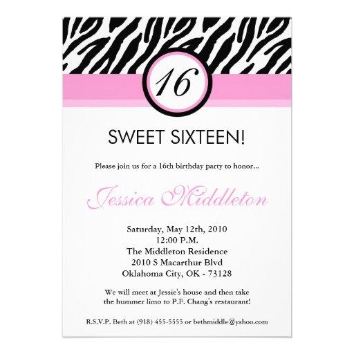 5x7 Light Pink Zebra16th Birthday Invitation
