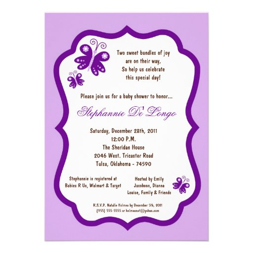 Purple Butterfly Baby Shower Invitations can inspire you to create best invitation template