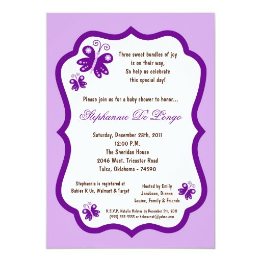5x7 light purple butterfly baby shower 5x7 paper invitation card
