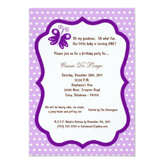 5x7 Light Purple Butterfly Birthday Party Invite