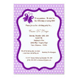 "5x7 Light Purple Butterfly Birthday Party Invite 5"" X 7"" Invitation Card"