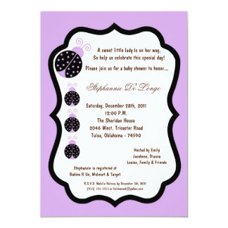 5x7 Light Purple Lady Bug Baby Shower Card