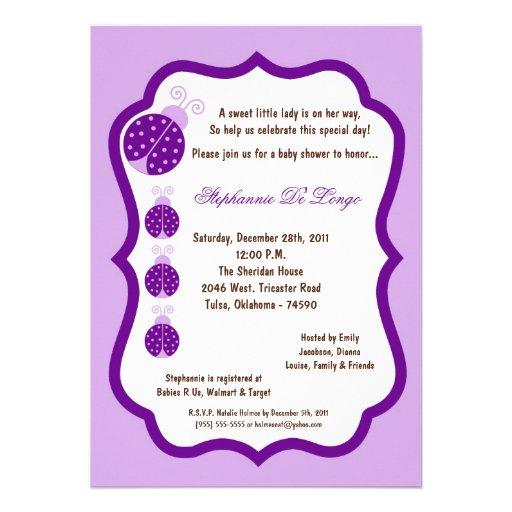5x7 light purple lady bug baby shower 5 x 7 invitation card zazzle