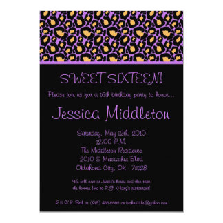 5x7 Lilac Lavende Cheetah 16th Birthday Invitation